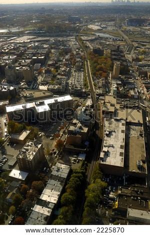 view of urban area from airplane - stock photo