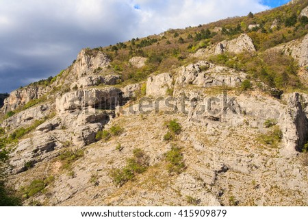 View of Val Rosandra in the Karst region - stock photo