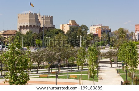 View of Valencia, Spain, with Serranos Towers in the Background - stock photo