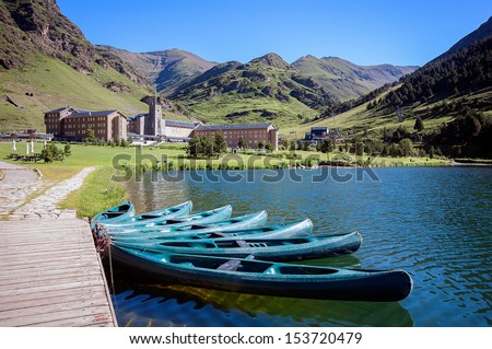 View of Vall de Nuria Sanctuary in the catalan pyrenees.Spain - stock photo