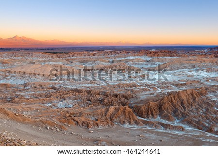 View of Valle de la Luna (Moon Valley), Cordillera de la Sal (salt mountain range), Atacama Desert, Chile