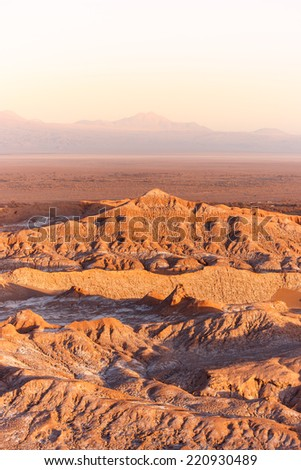 View of Valle de la Muerte (Death Valley) at sunset, Atacama desert, Chile.