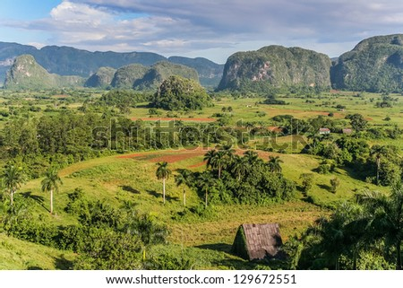 View of Valle de Vinales in the west of Cuba. - stock photo