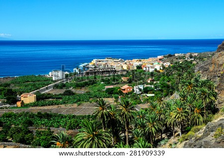 View of Valle Gran Rey La Gomera Canary Islands Spain - stock photo