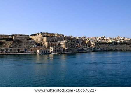 View of Valleta from the Grand Harbor, Malta.