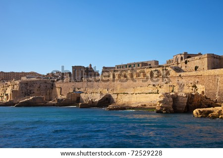 View of Valletta fortress from sea side. Malta