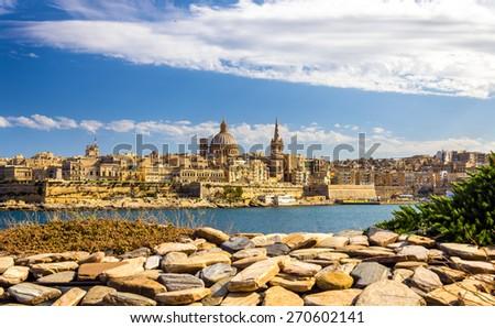 View of Valletta from a garden - Malta - stock photo