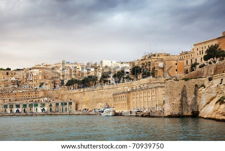 View of Valletta from Grand Harbour in winter. Malta - stock photo