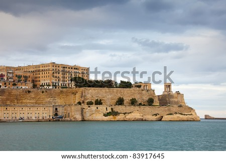 View of Valletta from Grand Harbour in winter. Malta