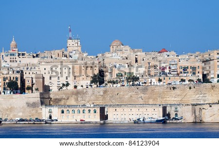 View of Valletta from Grand Harbour. Malta