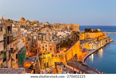 View of Valletta in the evening - Malta - stock photo