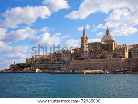 View of Valletta with Our Lady of Mount Carmel church dome, Malta - stock photo