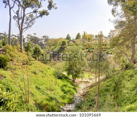 View of valley and Japanese garden in Balboa park in San Diego.
