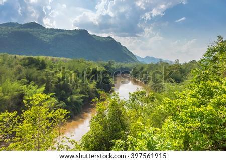 View of valley green river Kwai, Kanchanaburi, Thailand. - stock photo