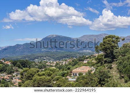 View of valley in Cote dAzur from Cagnes-sur-Mer. Cagnes-sur-Mer (between Nice and Cannes) - commune of Alpes-Maritimes department in Provence Alpes - Cote d'Azur region, France. Europe.