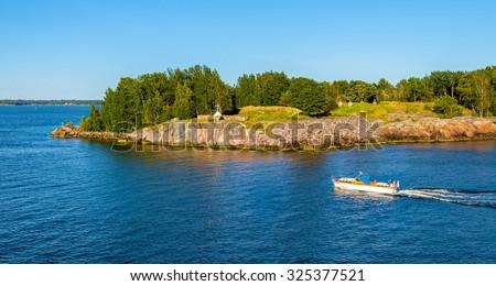 View of Vallisaari island near Helsinki - stock photo