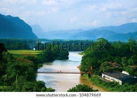 View of Vangvieng, Laos - stock photo