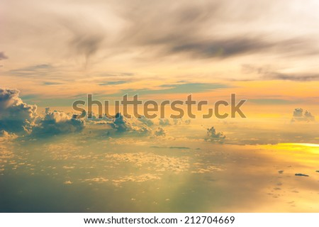 view of vanilla sky with cloud and sun light - stock photo