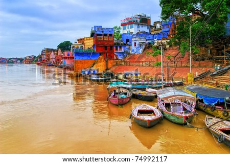 View of Varanasi on river Ganges, India - stock photo