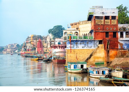 View Of Varanesi And Ganges River - stock photo