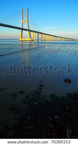 View of Vasco da gama bridge at Lisbon, Portugal - stock photo