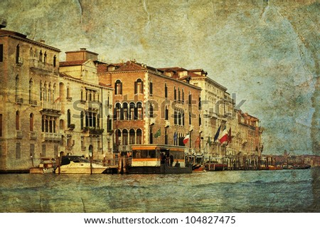 View of Venetian Grand Channel, retro style photo. - stock photo