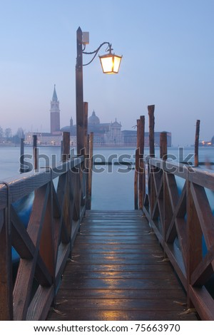 View of Venice at twilight