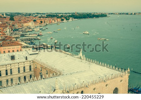 View of Venice city from the top of the bell tower at the San Marco Square, Italy - stock photo