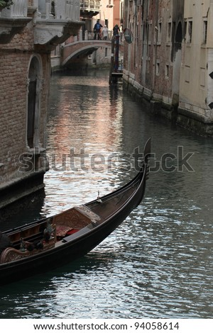 View of Venice gondola in a canal - stock photo