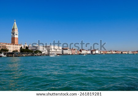 View of Venice lagoon with Doge's palace and Campanile on Piazza di San Marco - stock photo