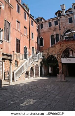 View of Venice the Campiello del Remer - stock photo
