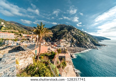 View of Vernazza seaside. Vernazza is a town in the province of La Spezia, Liguria, northwestern Italy. - stock photo