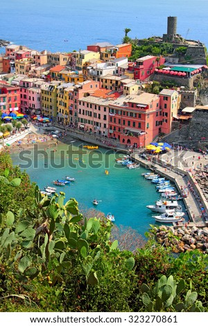 View of Vernazza village and azure lagoon, Cinque Terre, Italy - stock photo