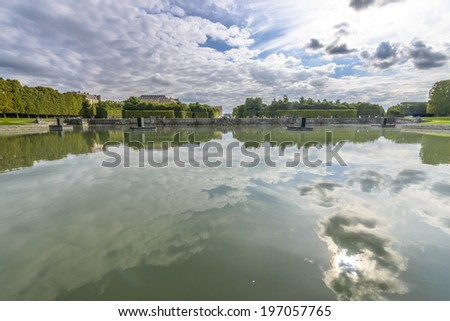 View of Versailles Chateau, gardens, famous fountains near Paris, France - stock photo