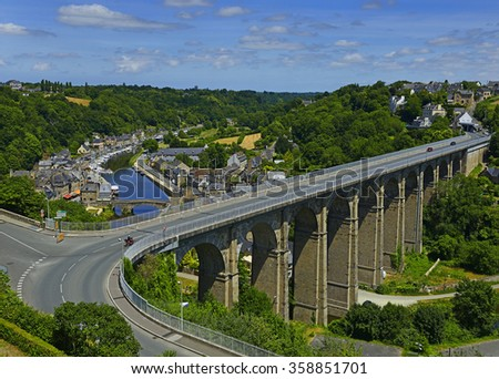 View of viaduct and Rance river in Dinan, Cotes-d'Armor department, Bretagne, northwestern France