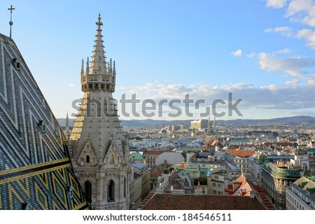View of Vienna from the St.Stephan Cathedral. - stock photo