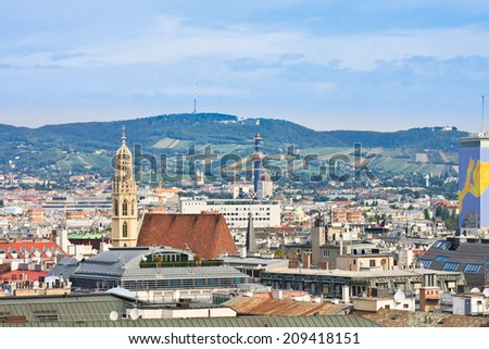 View of Vienna with St. Stephen's Cathedral. Austria - stock photo