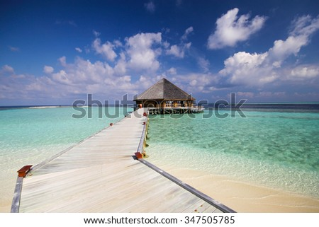 View of vilamendhoo island in the Indian Ocean Maldives - stock photo
