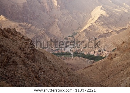 View of village in Todra Gorges, Morocco - stock photo