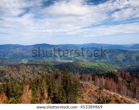 View of Village Ochotnica Dolna in Gorce mountains from summit of mountain Luban.