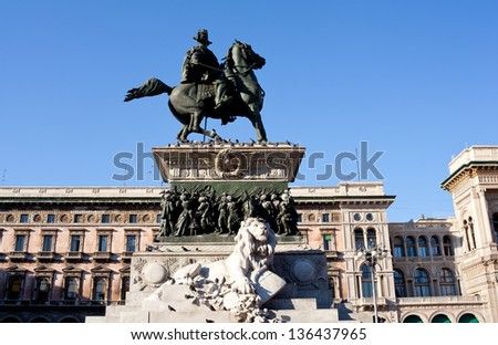 View of Vittorio Emanuele II monument, Milan - stock photo