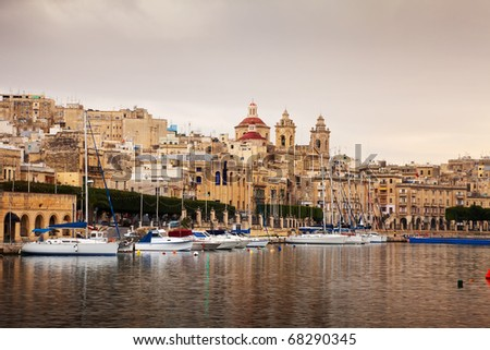 View of Vittoriosa and Docked yachts. Malta