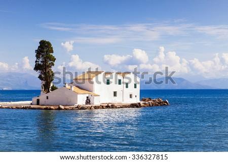 View of Vlacherna monastery, Corfu island, Greece - stock photo