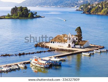 View of Vlacherna monastery, Kanoni, Corfu island, Greece - stock photo