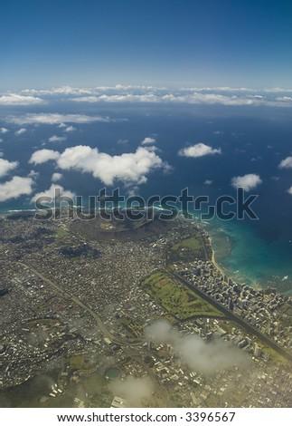view of waikiki and diamondhead from above hawaii - stock photo