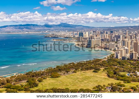 View of Waikiki Beach and Honolulu Skyline from Diamond Head - stock photo