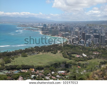 view of Waikiki beach and hotels from top of Diamond Head - stock photo
