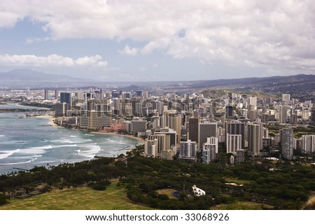 View of Waikiki from atop Diamond Head Crater - stock photo