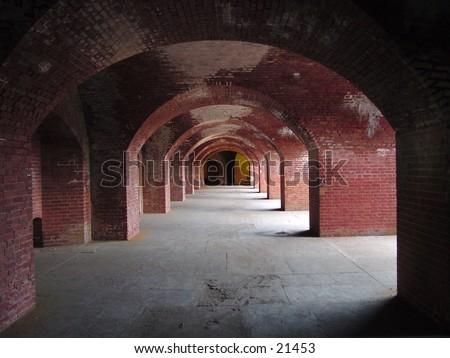 View of walkway at Fort Mason in San Francisco - stock photo