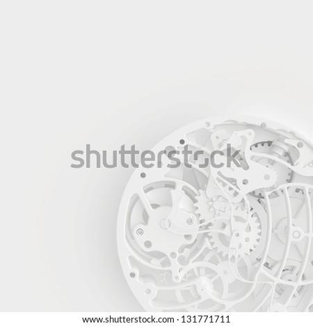 view of watch mechanism - stock photo